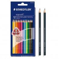 STAEDTLER Farbstift ergosoft Bundle 12St. + 2 Bleistifte
