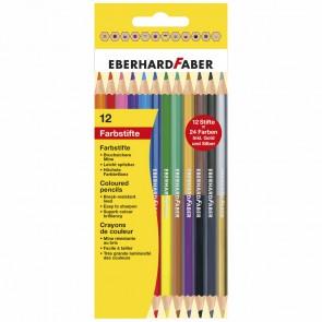 EBERHARD FABER Farbstifte Duo 12 Stück / 24 Farben incl. gold+silber