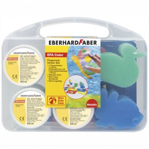 EBERHARD FABER Fingerfarben Set Pearl / Metallic 4x100ml + Schablonen