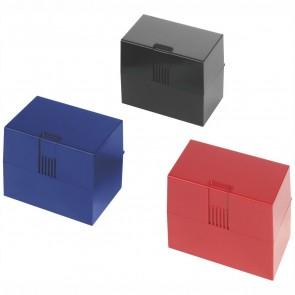 HERLITZ Karteikasten A7 für 300 Karten rot, blau, schwarz