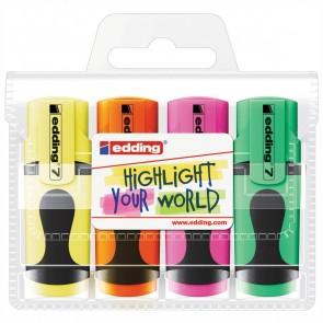 EDDING Textmarker 7 Mini Set 4 Farben 1-3mm