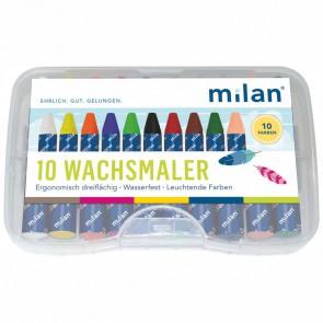 MILAN Wachsmalkreide 10 Farben dreikant wasserfest