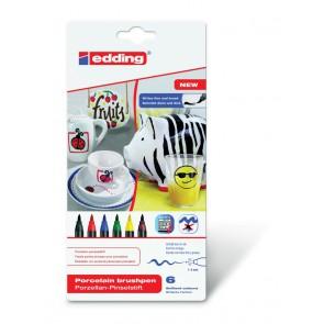 EDDING Porzellan Pinselstift 4200 6er Set -Grundfarben-